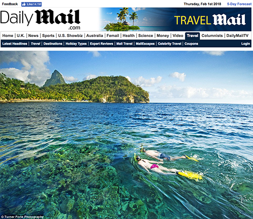 DailyMail.com UK website posts picture from St. Lucia of Snorkelers we took on assignment for Jade Mountain
