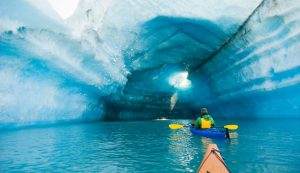 Kayaking the icebergs around Bear Glacier, Kenai Fjords National Park.
