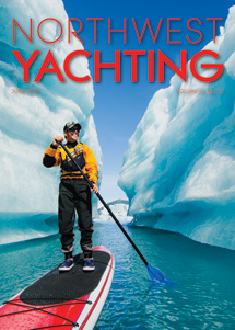 Northwest Yachting June cover is one of our Bear Glacier stand up paddling shots.