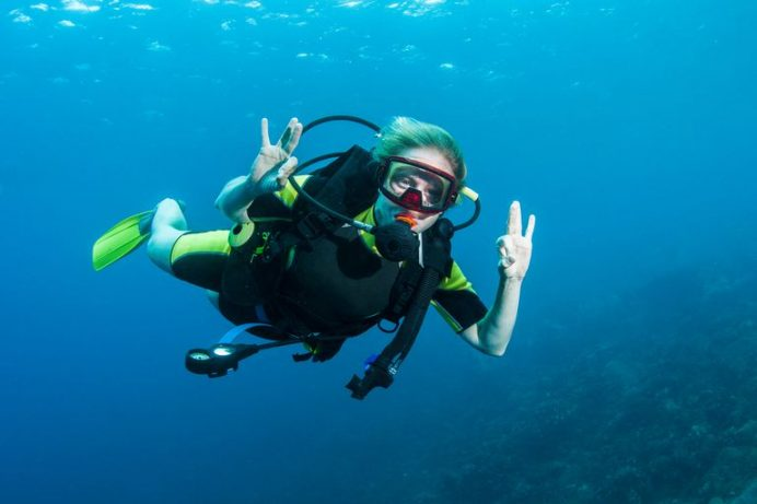 ThoughtCo. article on Reverse Block and Scuba Diving uses Courtney underwater in St. Lucia