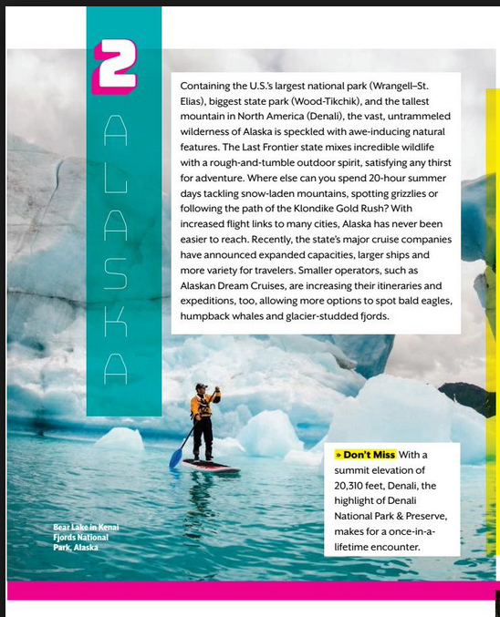 Lonely Planet Winter 2017 issue visits Alaska and Features our image of Chris on a paddle board.